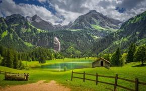 Картинка облака, пейзаж, горы, природа, озеро, Швейцария, деревня, Альпы, леса, луга, изгородь, Gstaad, Гштаад