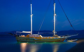 Картинка море, берег, корабль, парусник, вечер, Хорватия, мачты, gulet Andjeo, стоит на якоре