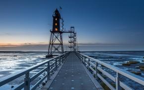 Картинка маяк, Германия, пирс, Dorum