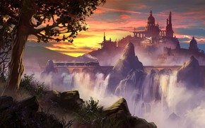 Картинка Паровоз, Локомотив, Дворец, Замок, Виадук, Fantasy, Пейзаж, Архитектура, Art, Concept Art, Водопады, Through, by YuHui …