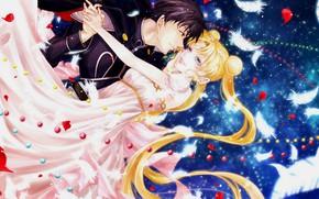 Картинка девушка, романтика, аниме, арт, пара, парень, двое, Sailor Moon