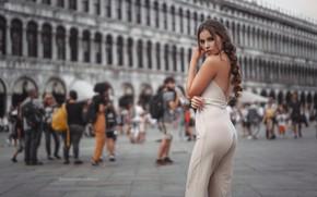 Картинка попа, девушка, площадь, Италия, Венеция, ножки, Stefan Häusler, Viktoria Stephanie