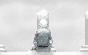 Картинка снег, могилы, парень, Gintama, Гинтама