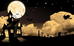 Обои Halloween, moon, house, holidays, flying, cemetery, fear, bats, witch, scary