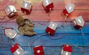 Картинка дом, праздник, ангел, Рождество, Новый год, домики, christmas, гирлянда, лампочки, widescreen • обои • wallpaper …