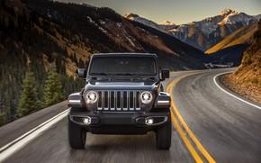 Картинка вершины, поворот, капот, перед, 2018, Jeep, тёмно-серый, Wrangler Sahara