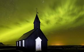 Картинка Aurora Borealis, Budir Church, Iceland