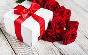 Картинка праздник, коробка, подарок, розы, лента, Olena Rudo