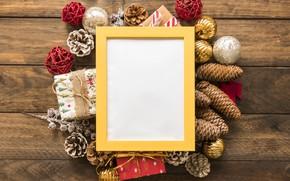 Картинка украшения, рамка, Новый Год, Рождество, Christmas, wood, New Year, decoration, frame, Merry