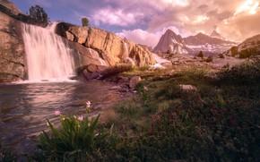 Картинка california, sunset, Moonlight Falls