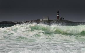 Картинка море, берег, волна, маяк