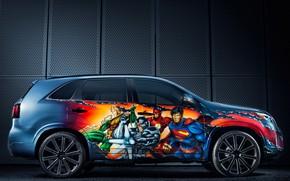 Картинка вид сбоку, Kia, кроссовер, 2014, Sorento, Justice League