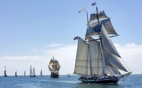Картинка море, небо, корабли, парусники