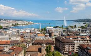 Обои небо, солнце, облака, дома, Швейцария, крыши, панорама, залив, причалы, Geneva