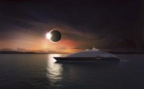 Картинка Солнце, Океан, Море, Яхта, Судно, Затмение, Eclipse, Рендеринг, Люкс, Scenic Eclipse, Luxury Ocean Cruises