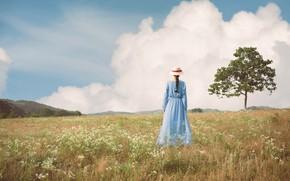 Картинка поле, лето, девушка, облака, природа, дерево, спина, шляпка, прогулка, голубое платье