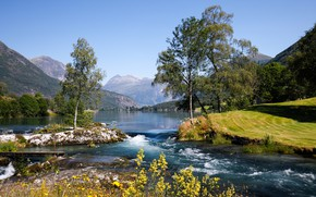 Картинка деревья, горы, озеро, Норвегия, Norway, Стрюн, Nordfjord, Stryn, Нордфьорд