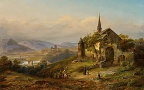 Картинка German painter, немецкий живописец, oil on canvas, Peter Joseph Minjon, Romantische Rheinlandschaft, Романтический Рейнский пейзаж, …