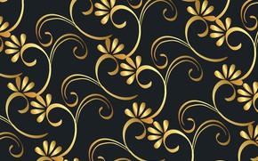 Картинка цветы, фон, узор, черный, golden, золотой, background, floral, victorian