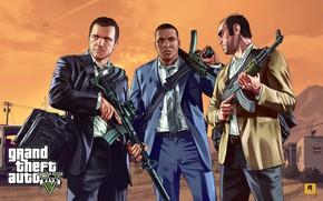 Картинка костюм, бандиты, сумка, AK-47, автоматы, Rockstar, gta, Grand Theft Auto V, GTA V, gta 5, …