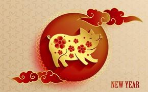 Картинка Новый год, свинья, 2019