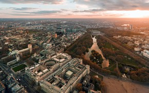 Картинка Англия, Лондон, панорама, Уайтхолл, Сент-Джеймсский парк
