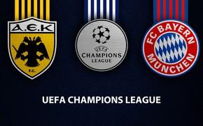 Картинка wallpaper, sport, logo, football, UEFA Champions League, Bayern Munich, AEK Athens, AEK vs Bayern Munich