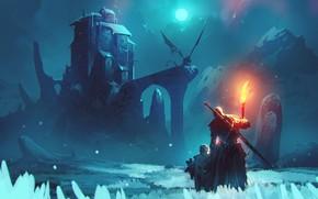 Картинка fire, moon, sword, fantasy, weapon, night, winter, mountain, snow, man, dragon, Castle, child, digital art, …