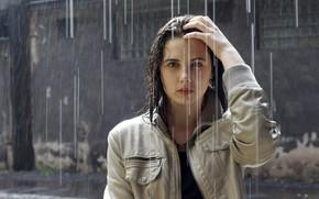 Картинка взгляд, девушка, дождь, мокрая, куртка