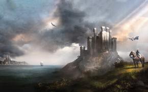 Картинка Море, Лошадь, Замок, Корабль, Воин, Арт, Art, Warrior, Рыцарь, Castle, Sea, Knight, Ship, Horse, Знамя, …