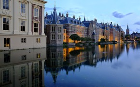 Картинка озеро, пруд, отражение, здания, дома, Нидерланды, Netherlands, Гаага, The Hague, Binnenhof, Бинненхоф, Hofvijver