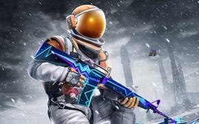 Картинка зима, снег, оружие, скафандр, PlayerUnknown's Battlegrounds