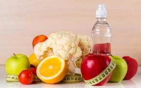 Картинка яблоки, апельсины, фрукты, помидоры, orange, apples, tomatoes, метр