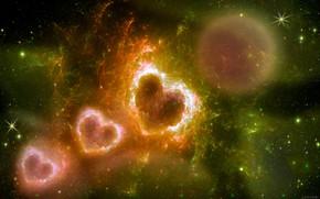 Картинка космос, фэнтези, сердечки