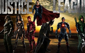 Картинка Wonder Woman, Batman, Superman, Green Arrow, Arrow, Cyborg, Flash, Aquaman, Justice League, Лига Справедливости
