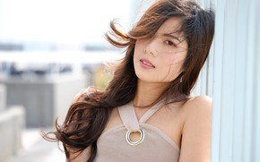 Картинка азиата, взгляд, лицо, волосы, губы, лето, милашка