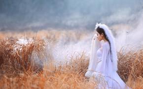 Картинка девушка, природа, туман, профиль, азиатка, песец, закрытые глаза, головной убор