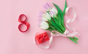 Картинка праздник, подарок, букет, тюльпаны, 8 марта