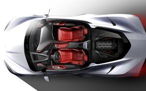 Картинка Дизайн, Рисунок, Corvette, Chevrolet, Эскиз, Stingray, 2020, Chevrolet Corvette ( C8 ) Stingray
