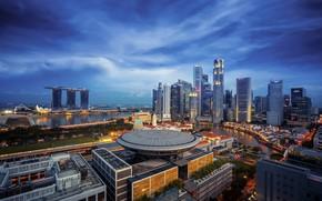 Картинка небо, пейзаж, город, Сингапур, Singapore, Singapore city