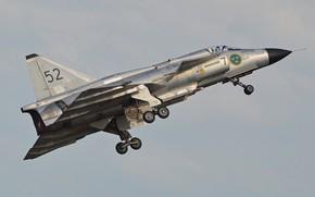 Картинка Истребитель, Взлет, Шасси, SAAB, ВВС Швеции, Saab 37 Viggen