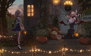 Картинка Halloween, Anime, Izayoi Sakuya, Touhou Project, Remilia Scarlet, Flandre Scarlet