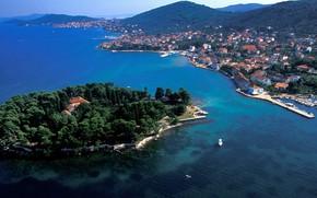 Картинка море, острова, Хорватия, Адриатика, остров Угльян, город Преко