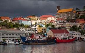 Картинка здания, дома, корабли, причал, гавань, Grenada, Гренада, St. George's Inner Harbour, Saint George's, St. George's, …