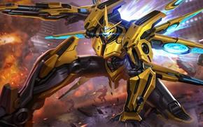 Картинка жёлтый, робот, искры, Contra: Return