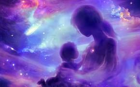 Картинка девушка, туманность, ребенок, созвездие