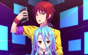 Картинка аниме, арт, девочка, парень, двое, Смартфон, No Game No Life, Нет игры нет жизни