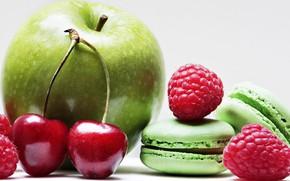 Картинка вишня, малина, apple, яблоко, macarons