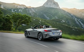 Картинка дорога, горы, серый, скорость, BMW, родстер, BMW Z4, M40i, Z4, 2019, G29