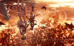 Картинка осень, вода, девушка, парень, Sakine Meiko, Vocaloids, Shion Kaito